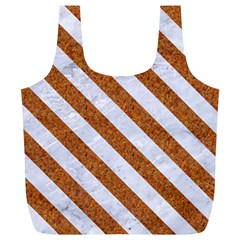 Stripes3 White Marble & Rusted Metal Full Print Recycle Bags (l)  by trendistuff