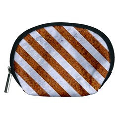 Stripes3 White Marble & Rusted Metal Accessory Pouches (medium)  by trendistuff