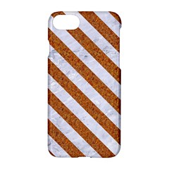 Stripes3 White Marble & Rusted Metal Apple Iphone 7 Hardshell Case by trendistuff
