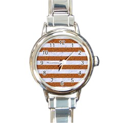 Stripes2white Marble & Rusted Metal Round Italian Charm Watch by trendistuff