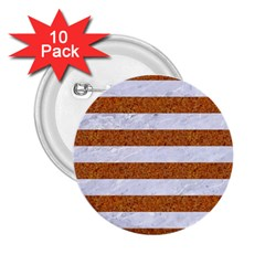 Stripes2white Marble & Rusted Metal 2 25  Buttons (10 Pack)  by trendistuff