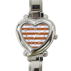 Stripes2white Marble & Rusted Metal Heart Italian Charm Watch by trendistuff