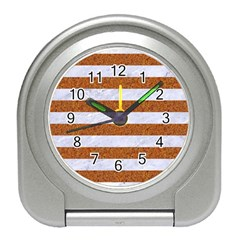 Stripes2white Marble & Rusted Metal Travel Alarm Clocks by trendistuff