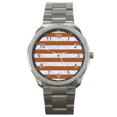 Stripes2white Marble & Rusted Metal Sport Metal Watch