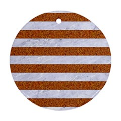 Stripes2white Marble & Rusted Metal Round Ornament (two Sides) by trendistuff