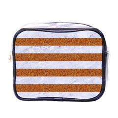 Stripes2white Marble & Rusted Metal Mini Toiletries Bags by trendistuff