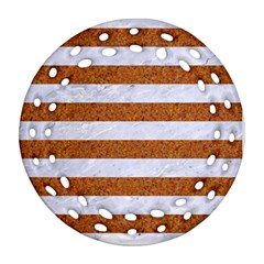 Stripes2white Marble & Rusted Metal Round Filigree Ornament (two Sides) by trendistuff