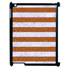 Stripes2white Marble & Rusted Metal Apple Ipad 2 Case (black) by trendistuff