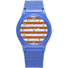 Stripes2white Marble & Rusted Metal Round Plastic Sport Watch (s) by trendistuff