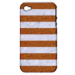 Stripes2white Marble & Rusted Metal Apple Iphone 4/4s Hardshell Case (pc+silicone) by trendistuff
