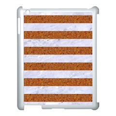 Stripes2white Marble & Rusted Metal Apple Ipad 3/4 Case (white) by trendistuff