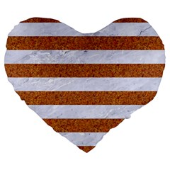 Stripes2white Marble & Rusted Metal Large 19  Premium Heart Shape Cushions by trendistuff
