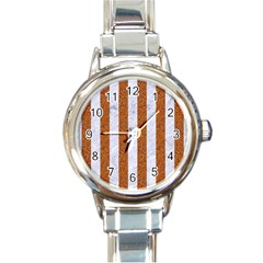 Stripes1 White Marble & Rusted Metal Round Italian Charm Watch by trendistuff