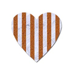 Stripes1 White Marble & Rusted Metal Heart Magnet by trendistuff