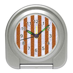 Stripes1 White Marble & Rusted Metal Travel Alarm Clocks by trendistuff