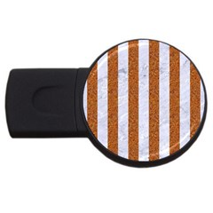 Stripes1 White Marble & Rusted Metal Usb Flash Drive Round (4 Gb) by trendistuff