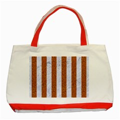 Stripes1 White Marble & Rusted Metal Classic Tote Bag (red) by trendistuff