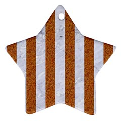 Stripes1 White Marble & Rusted Metal Star Ornament (two Sides) by trendistuff