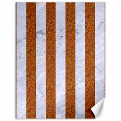 Stripes1 White Marble & Rusted Metal Canvas 12  X 16   by trendistuff