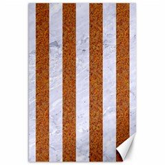 Stripes1 White Marble & Rusted Metal Canvas 20  X 30   by trendistuff