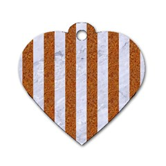 Stripes1 White Marble & Rusted Metal Dog Tag Heart (two Sides) by trendistuff