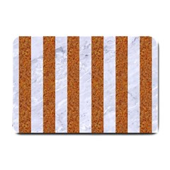 Stripes1 White Marble & Rusted Metal Small Doormat  by trendistuff