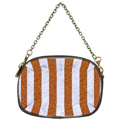 Stripes1 White Marble & Rusted Metal Chain Purses (one Side)  by trendistuff