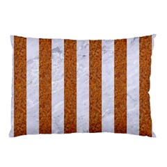 Stripes1 White Marble & Rusted Metal Pillow Case by trendistuff