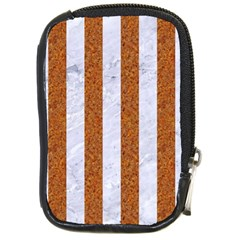 Stripes1 White Marble & Rusted Metal Compact Camera Cases by trendistuff