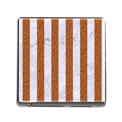Stripes1 White Marble & Rusted Metal Memory Card Reader (square) by trendistuff