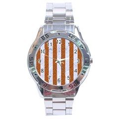 Stripes1 White Marble & Rusted Metal Stainless Steel Analogue Watch by trendistuff