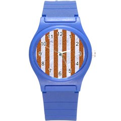 Stripes1 White Marble & Rusted Metal Round Plastic Sport Watch (s) by trendistuff