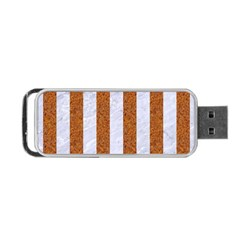 Stripes1 White Marble & Rusted Metal Portable Usb Flash (one Side) by trendistuff