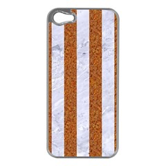 Stripes1 White Marble & Rusted Metal Apple Iphone 5 Case (silver) by trendistuff