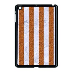 Stripes1 White Marble & Rusted Metal Apple Ipad Mini Case (black) by trendistuff