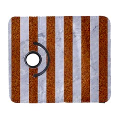 Stripes1 White Marble & Rusted Metal Galaxy S3 (flip/folio) by trendistuff