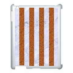 Stripes1 White Marble & Rusted Metal Apple Ipad 3/4 Case (white) by trendistuff