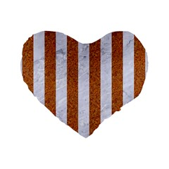 Stripes1 White Marble & Rusted Metal Standard 16  Premium Heart Shape Cushions by trendistuff