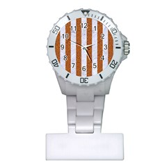 Stripes1 White Marble & Rusted Metal Plastic Nurses Watch by trendistuff
