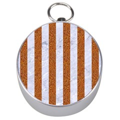 Stripes1 White Marble & Rusted Metal Silver Compasses by trendistuff