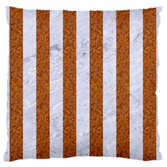 Stripes1 White Marble & Rusted Metal Large Flano Cushion Case (two Sides) by trendistuff