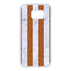 Stripes1 White Marble & Rusted Metal Samsung Galaxy S7 Edge White Seamless Case by trendistuff