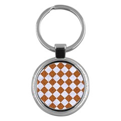 Square2 White Marble & Rusted Metal Key Chains (round)  by trendistuff