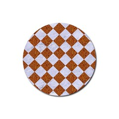 Square2 White Marble & Rusted Metal Rubber Round Coaster (4 Pack)  by trendistuff