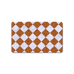 Square2 White Marble & Rusted Metal Magnet (name Card) by trendistuff