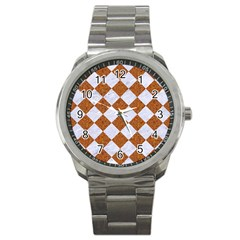 Square2 White Marble & Rusted Metal Sport Metal Watch by trendistuff