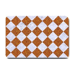 Square2 White Marble & Rusted Metal Small Doormat  by trendistuff
