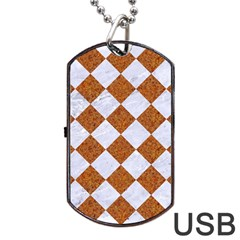 Square2 White Marble & Rusted Metal Dog Tag Usb Flash (one Side) by trendistuff