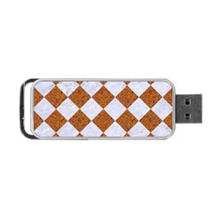 Square2 White Marble & Rusted Metal Portable Usb Flash (one Side) by trendistuff