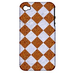 Square2 White Marble & Rusted Metal Apple Iphone 4/4s Hardshell Case (pc+silicone) by trendistuff